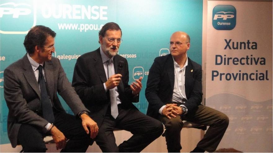 Feijóo, Rajoy y Baltar Blanco, en un acto de la campaña de 2011 / PP Ourense