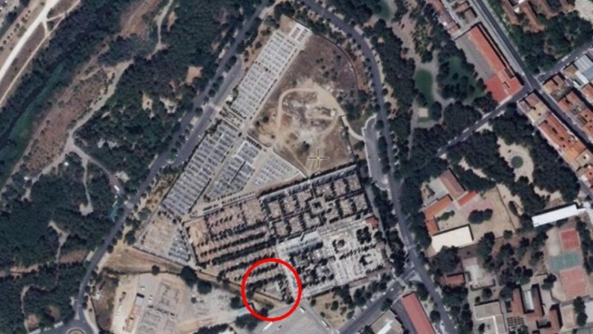 Vista aérea del cementerio de Guadalajara. En el círculo rojo la zona civil de actuación