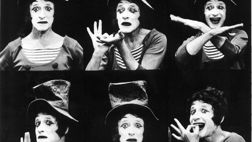 Composición fotográfica de diversos gesteos del famoso mimo francés Marcel Marceau.