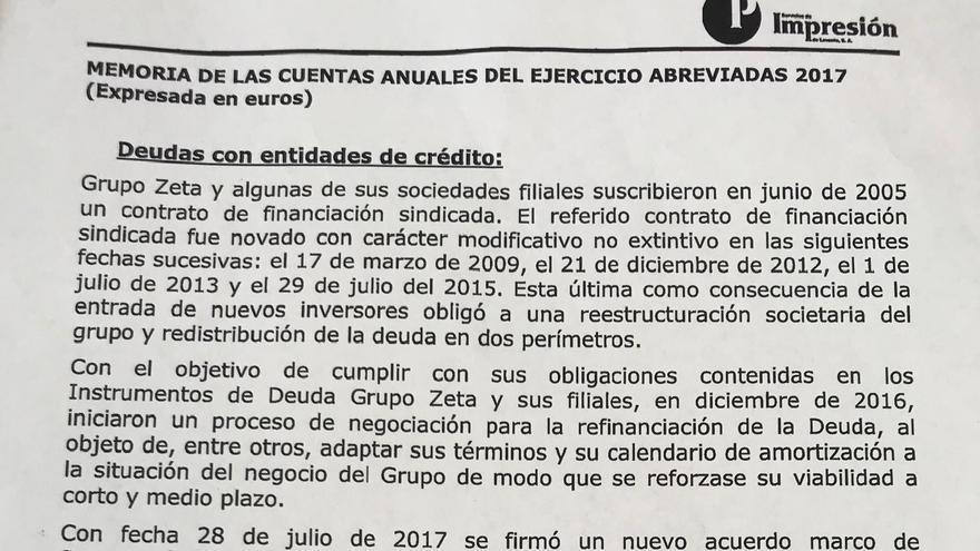 Informe de la deuda de Servicios de Impresión de Levante SA, filial de Pecsa en la que tiene acciones Ximo Puig.
