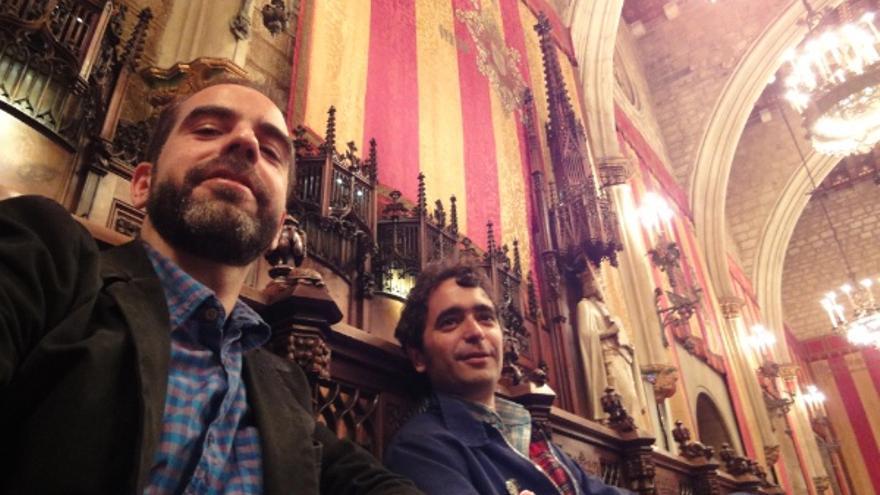 Eduard Escoffet i Martí Sales, al Saló de Cent de l'Ajuntament de Barcelona.