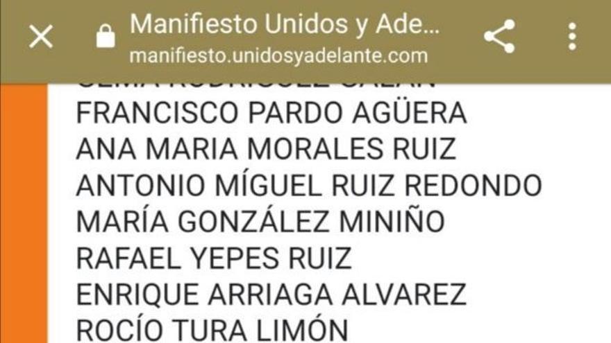 Captura en la que puede verse el nombre de Santiago Abascal como firmante del manifiesto en apoyo a Arrimadas.