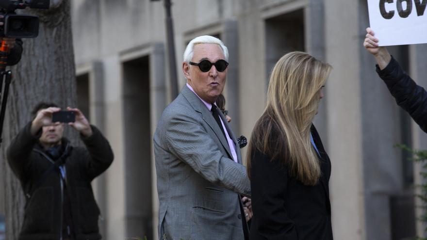 Roger Stone, exasesor de Donald Trump, a su llegada a los juzgados de Washington D.C.