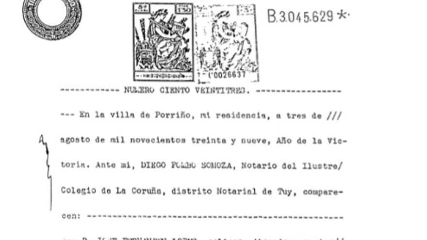 Acta notarial de la fundación de Zeltia, imagen del libro 'Obella Vidal, investigador, empresario e galeguista' (Ricardo Gurriarán, Foro Enrique Peinador, 2009)