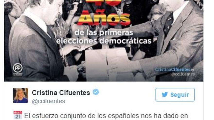 Tuit de la presidenta de la Comunidad de Madrid, Cristina Cifuentes, en conmemoración de las primeras elecciones democráticas.