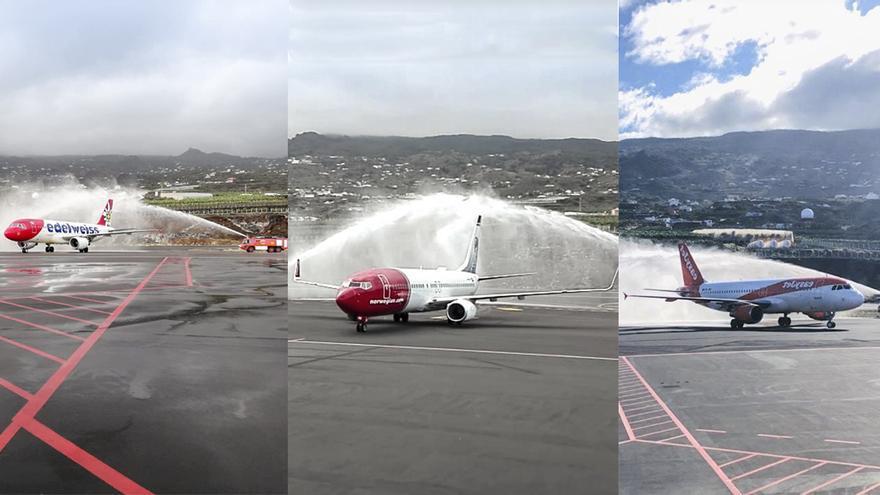 Bautizo de las tres aeronaves en el Aeropuerto de La Palma.