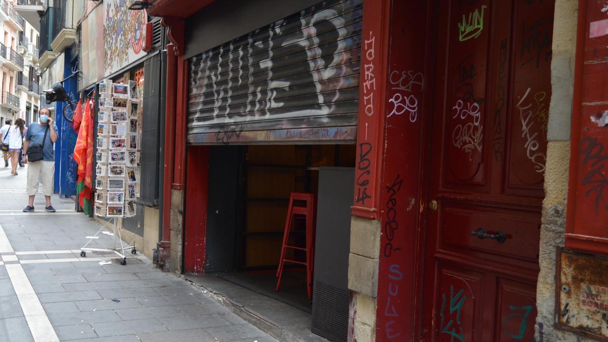 Un bar en la calle Mercaderes del centro de Pamplona