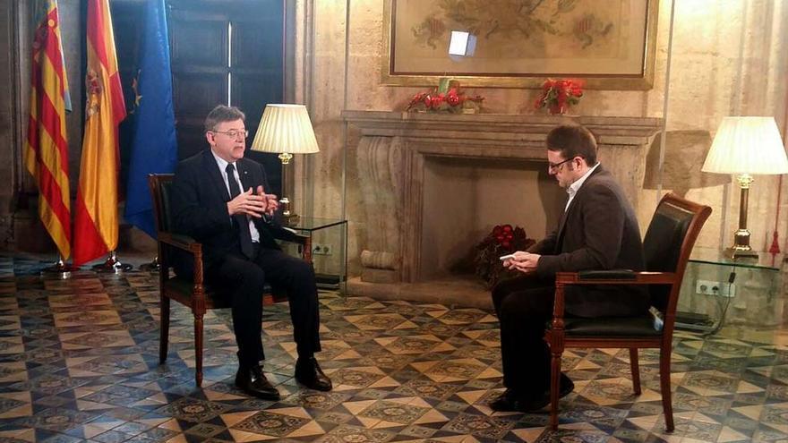 Julián Giménez entrevista al president Ximo Puig en el Palau de la Generalitat