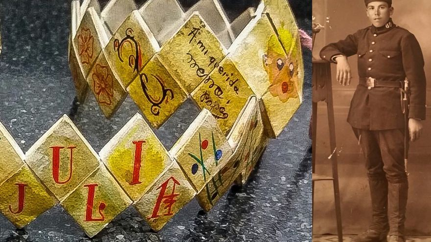 Cinturón de papel y cartón que Gregorio Panadero confeccionó en la cárcel para su hija Julia