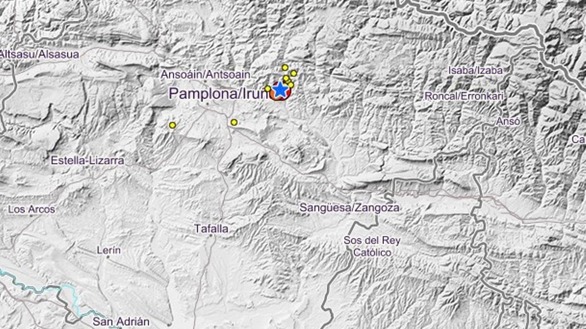 Mapa de intensidad del terremoto del jueves pasado en Pamplona