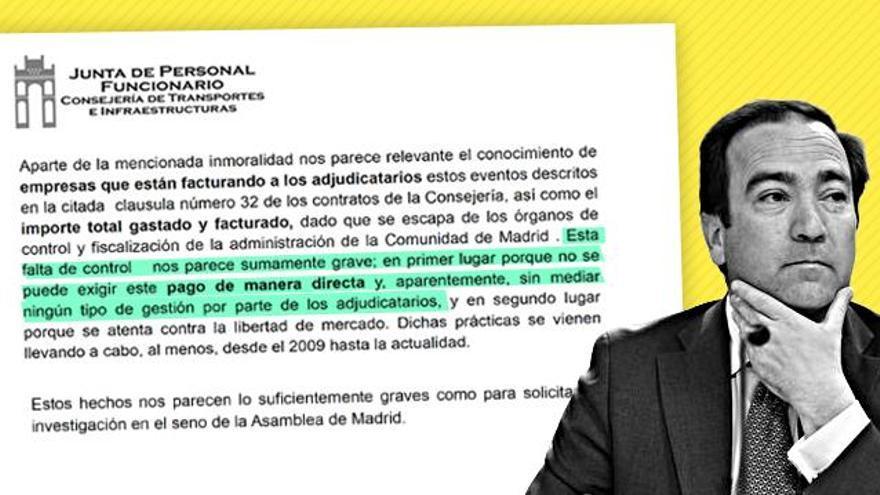 Extracto de la carta que los funcionarios de la Consejería de Transportes enviaron en 2013.