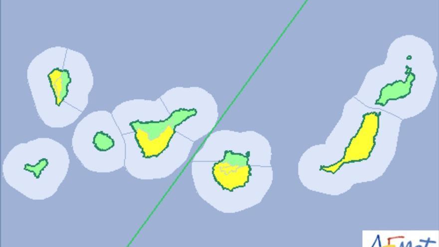 Mapa de la Aemet del avisos de riesgo por temperaturas máximas para este sábado, 29 de julio de 2017.