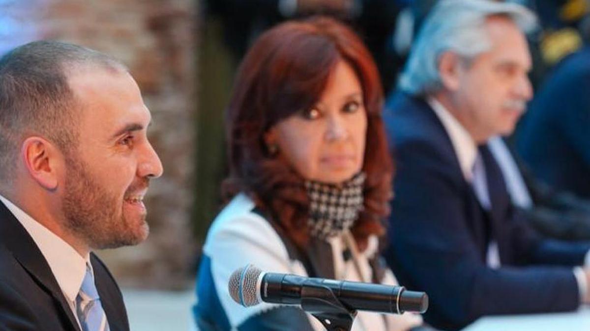 Martín Guzmán con Cristina Kirchner y Alberto Fernández