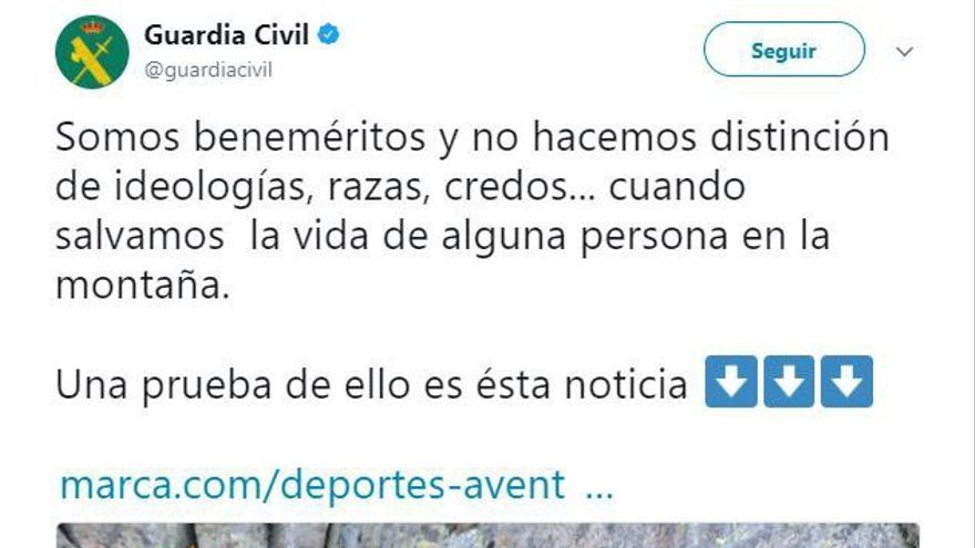 Mensaje de la Guardia Civil en Twitter