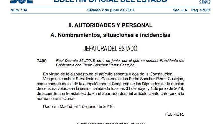 Publicación en el BOE del nombramiento de Pedro Sánchez como nuevo presidente del Gobierno