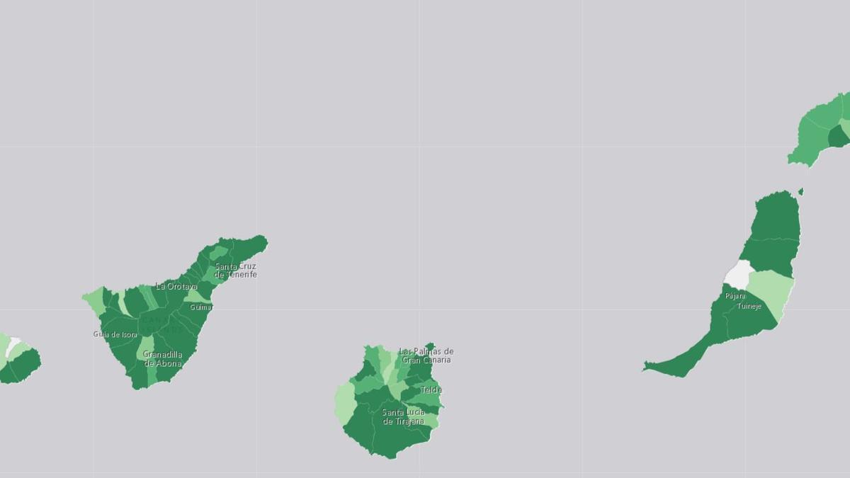 Islas con mayor porcentaje de casos por población (más oscuro, más casos)