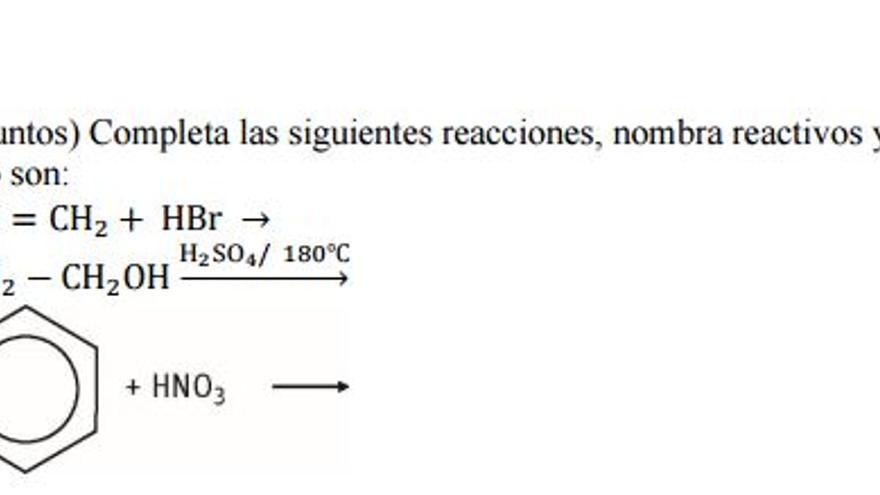 Opción A. Primer ejercicio EVAU Química UCLM
