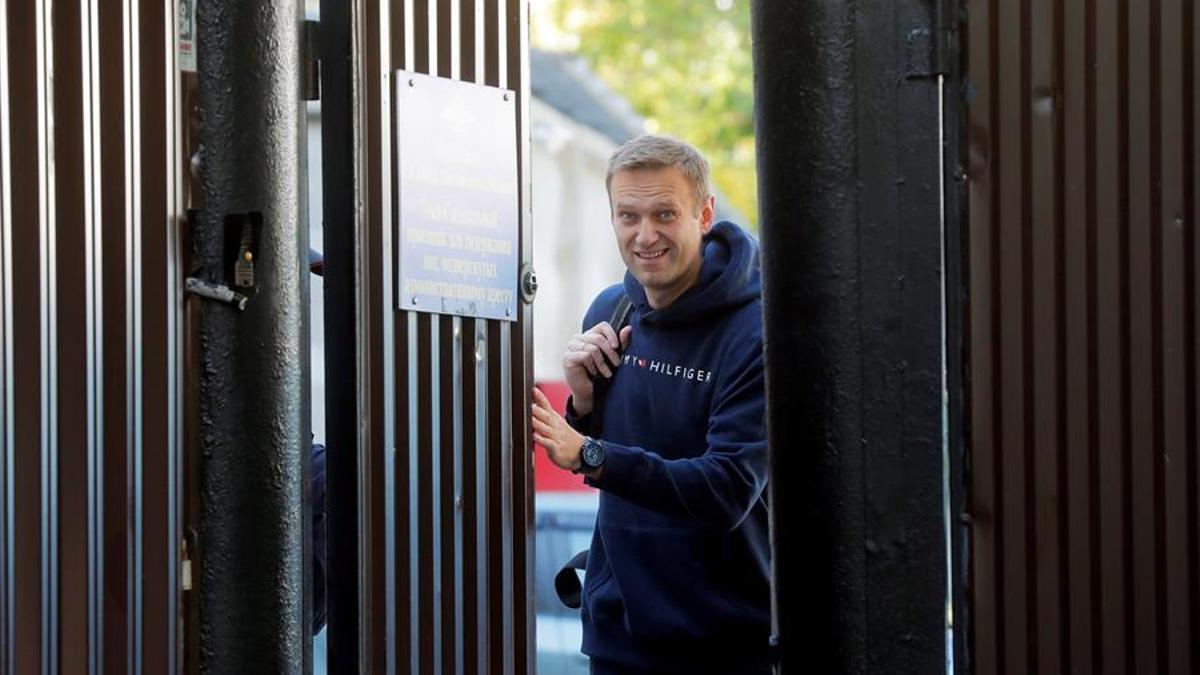 Alexéi Navalni a su salida de prisión en agosto de 2019