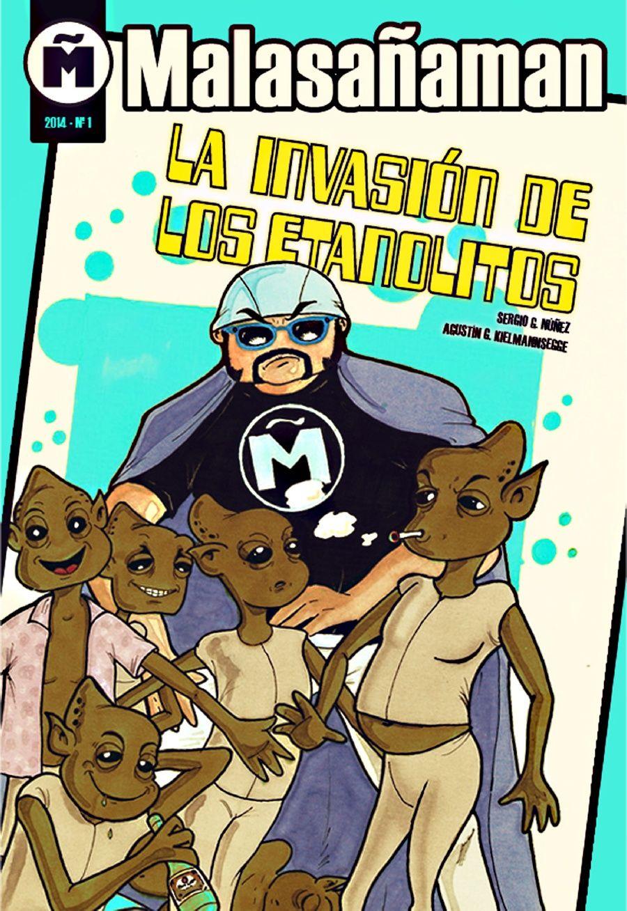Portada de 'La invasión de los etanolitos', con dibujo de Sergio G. Núñe y diseño de Marta Lorrio