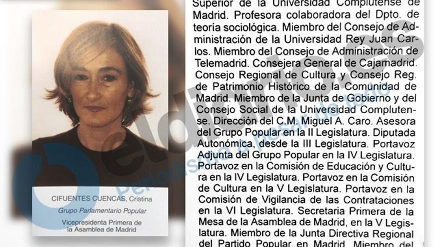 Reconstrucción de la ficha de diputada de Cristina Cifuentes en la VII Legislatura de la Asamblea de Madrid.