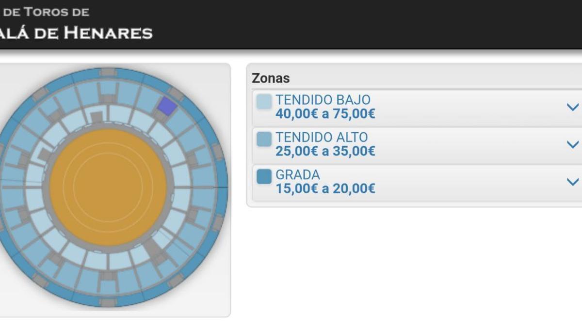 Captura de la página web donde se compran las entradas.