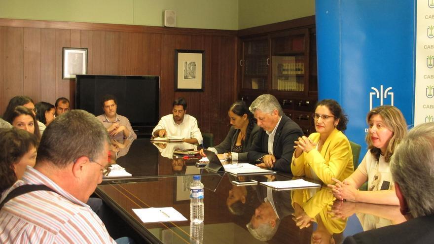 Reunión de la comisión de inclusión social y lucha contra la pobreza presidida por la consejera insular de Asuntos Sociales, Jovita Monterrey, y por el comisionado de Inclusión Social y Lucha contra la Pobreza del Gobierno de Canarias, Néstor Hernández