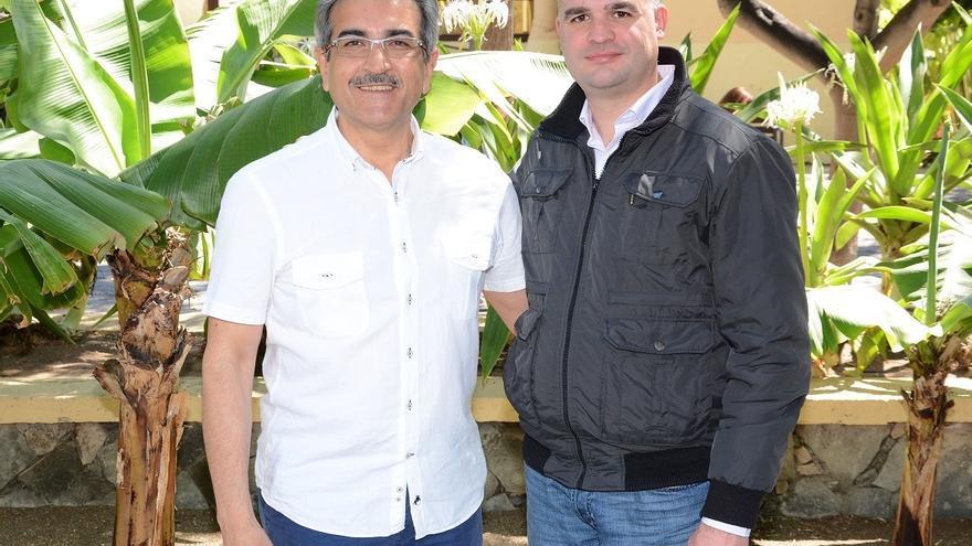 Román Rodríguez, presidente de Nueva Canarias, y David Morera, secretario local de NC en Los Llanos de Aridane.