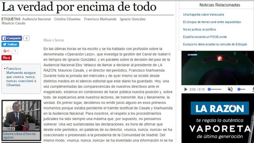 Editorial La Razón 21/04/2017