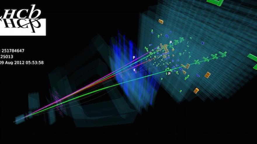 Reconstrucción de uno de los eventos en los que se observa un candidato a pentaquark | Imagen: CERN