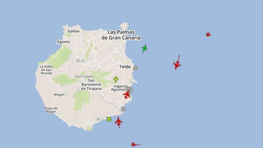Mapa de Aena con la trayectoria de los vuelos con origen o destino en el aeropuerto de Gran Canaria.