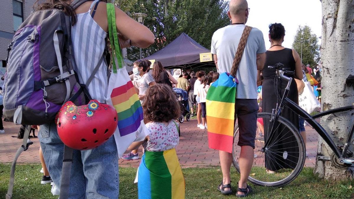 Una niña, con la bandera LGTBI, en la concentración de este jueves