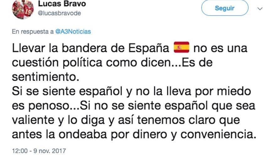 Twitter de Lucas Bravo de Laguna publicado el 9 de noviembre de 2017.