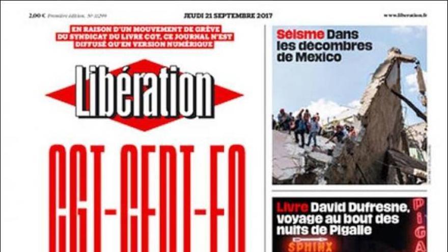 Portada del 21/09/2017 del diario francés Libération