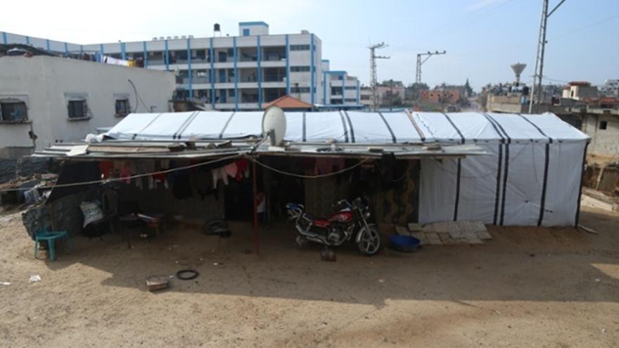 La chabola en Beit Hanoun, donde Salma vivió con 14 miembros de su extensa familia. Fotografía: Belal Hasna