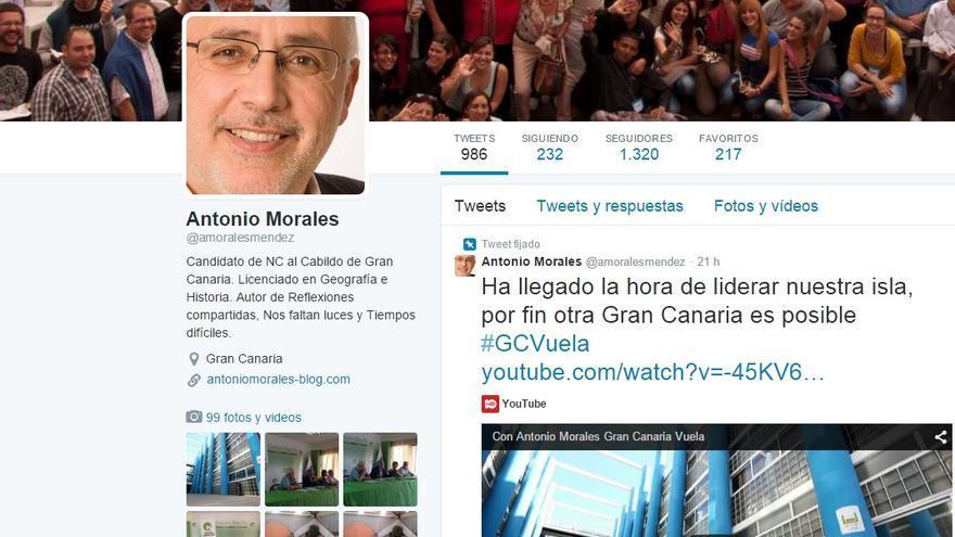 Pantallazo de la cuenta de Twitter de Antonio Morales