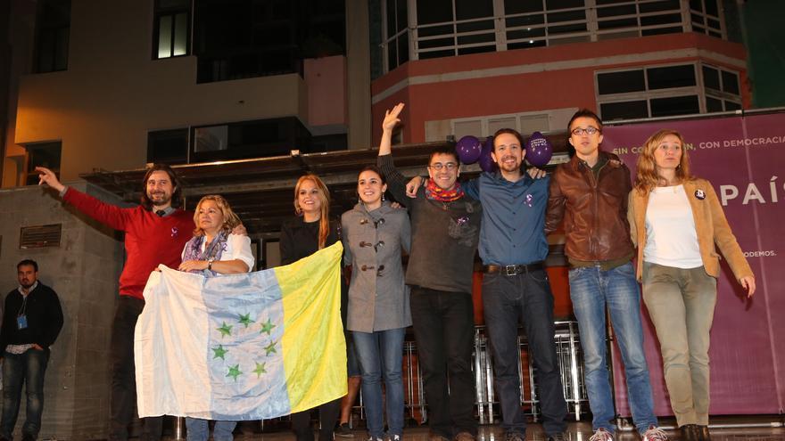 Foto tras el mitin de Podemos en Gran Canaria (ALEJANDRO RAMOS)