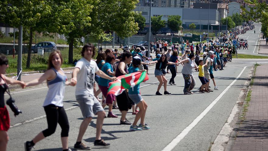 Cerca de 150.000 personas, según la organización, han unido Durango y Pamplona. /Foto: Javi Julio.