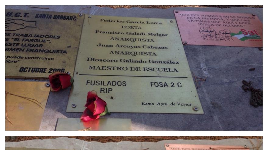 Retiran la placa con la que el Ayuntamiento de Víznar situaba la fosa de Lorca en el barranco