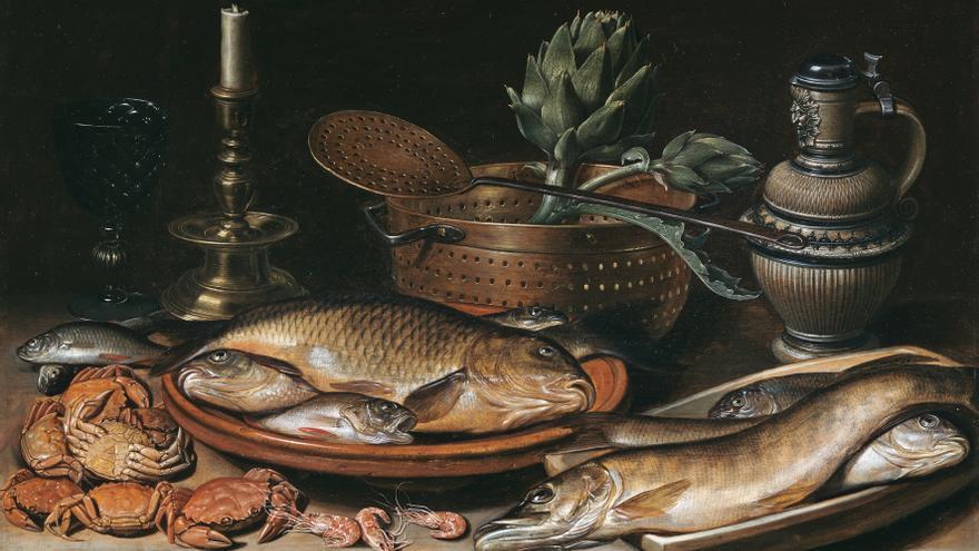 Bodegón con pescado, vela, alcachofas, cangrejos y gambas/ Clara Peeters