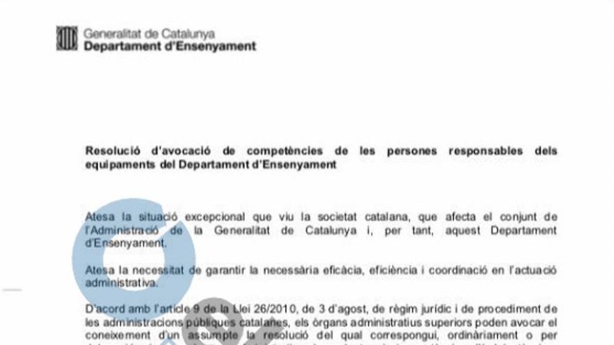 Resolución de la Conselleria de Enseñanza