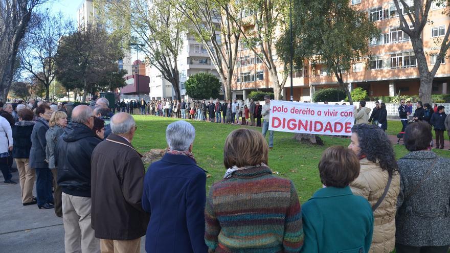 Cadena humana organizada por la ODS-Coia. Foto: Zelia Garcia