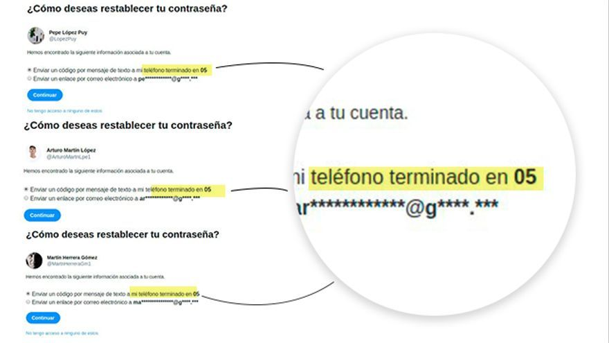 Los dos últimos números del teléfono de recuperación de cuenta de José López Puy coinciden con el de dos de los perfiles falsos pertenecientes a la red fraudulenta de apoyo a Casado. Hay una posibilidad entre 10.000 de que esto ocurra aleatoriamente.