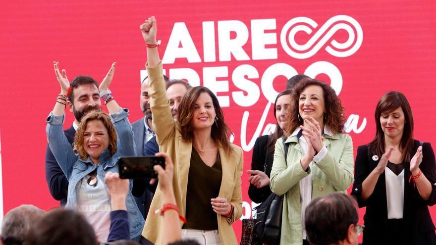 Sandra Gómez, en la presentación de su lema de campaña en el trinquet de Pelayo.