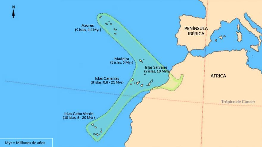 Mapa de Canarias, Azores, Cabo Verde y Madeira