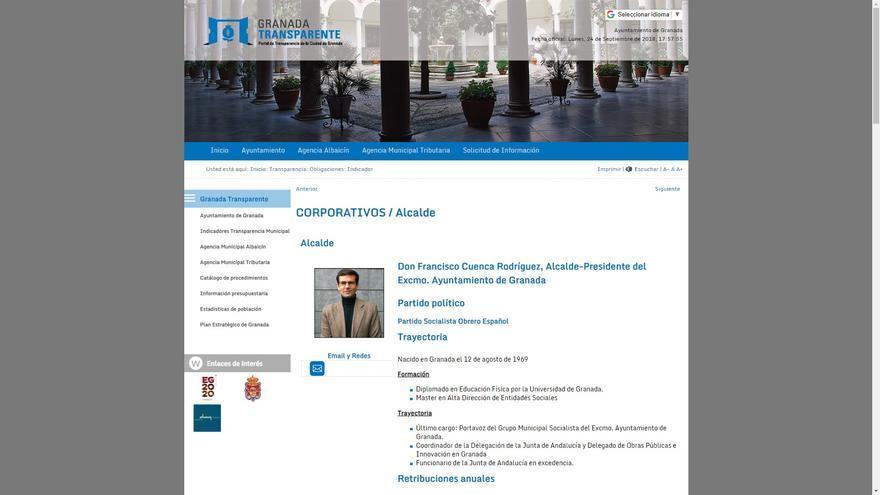 Captura del Portal de Transparencia del Ayuntamiento de Granada a fecha 24 de septiembre de 2018