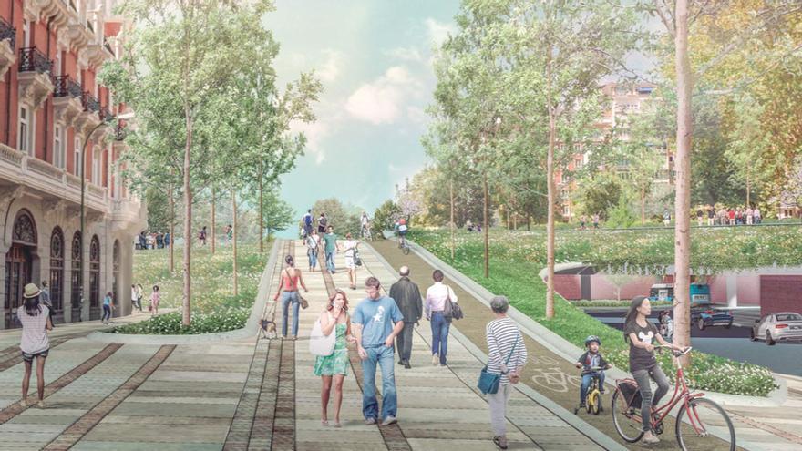 Recreación del futuro acceso a Plaza España por la Cuesta de San Vicente