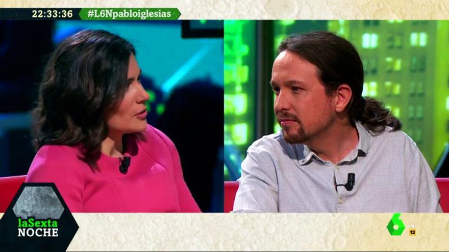 Pablo Iglesias y María Llapart, en laSexta Noche