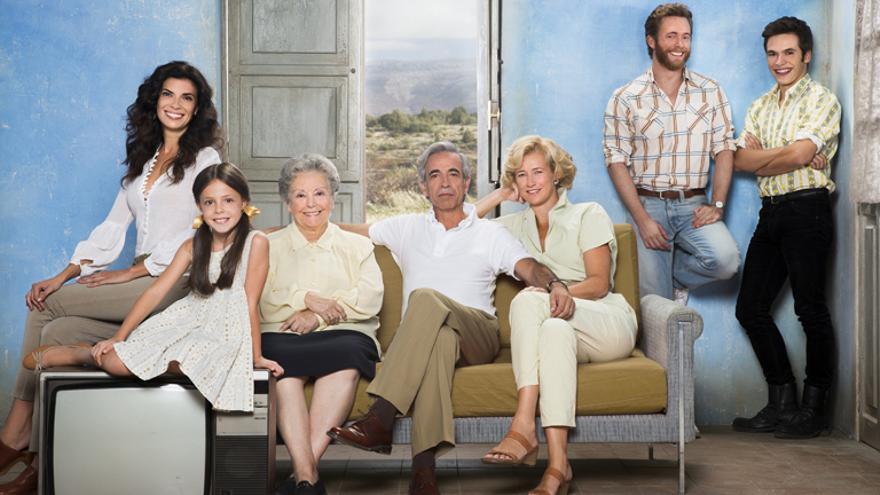 La familia Alcántara en una imagen de promoción de RTVE. A la izquierda, Pilar Punzano