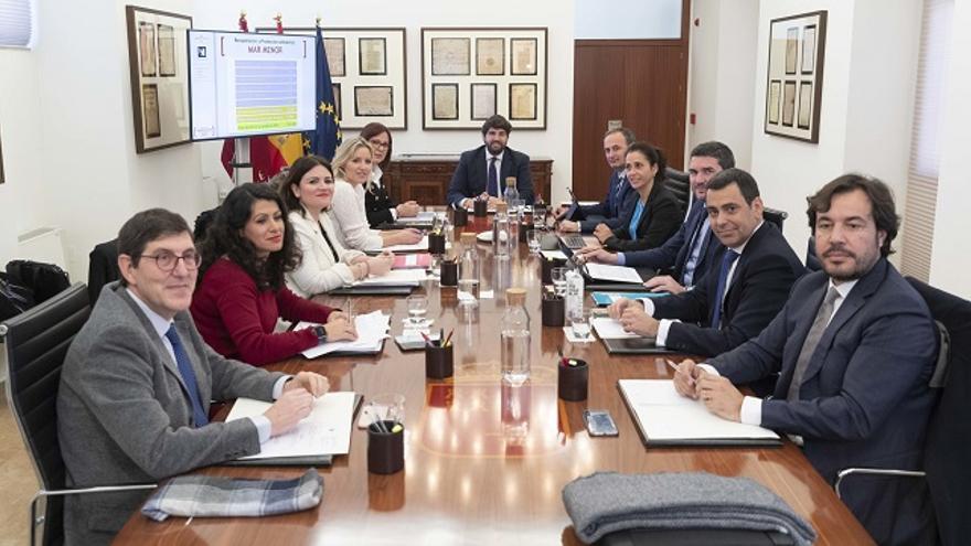 El Ejecutivo murciano tras aprobar los presupuestos regionales para el 2020