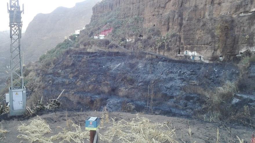 Vista del barrio de El Hornillo, en Agaete tras el incendio que ha afectado a Gran Canaria.